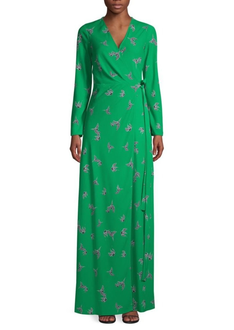 Diane Von Furstenberg Bird-Print Maxi Wrap Dress
