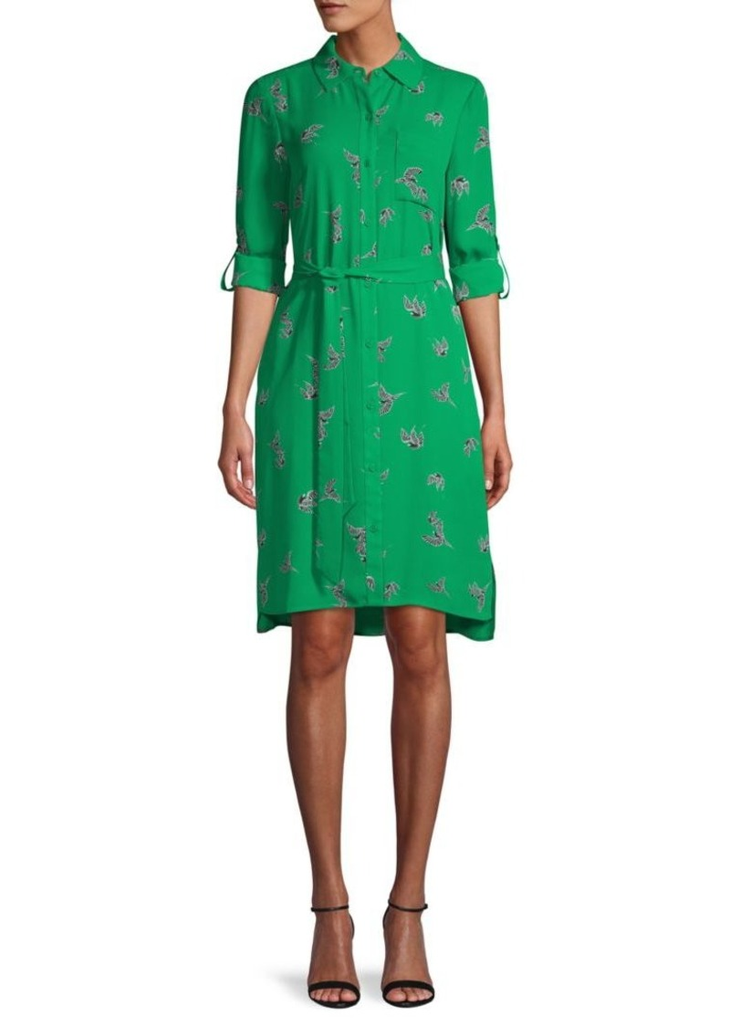 Diane Von Furstenberg Bird-Print Roll-Tab Sleeve Shirtdress