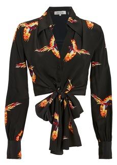 Diane Von Furstenberg Bird Tie Blouse