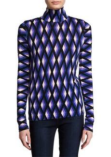 Diane Von Furstenberg Brandy Geo-Print Wool Turtleneck Sweater