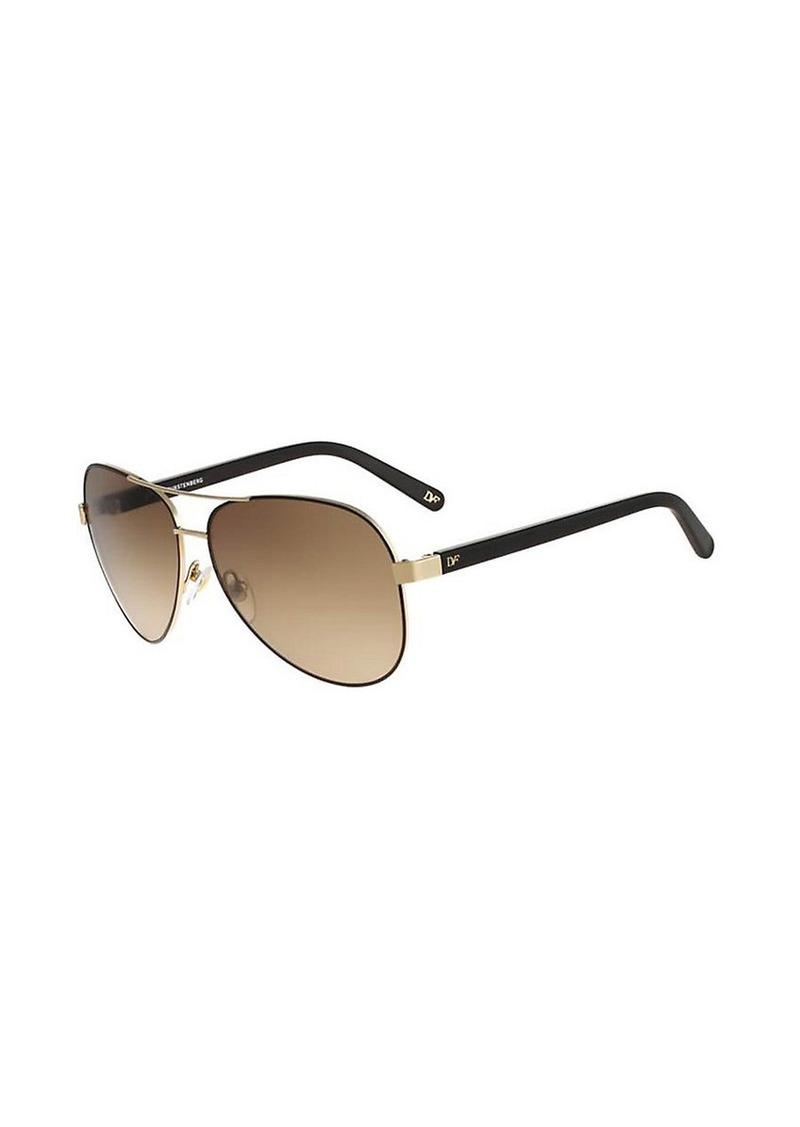 Diane Von Furstenberg Brandy Mirrored Aviator Sunglasses