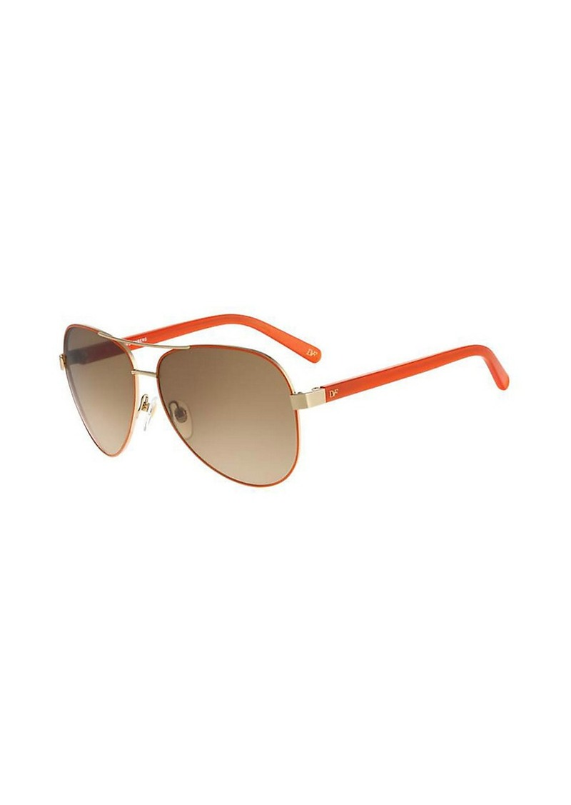 Diane Von Furstenberg Brandy Mirrored Aviator Sunglasses