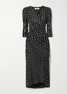 Diane Von Furstenberg Briella Ruched Polka-dot Stretch-mesh Wrap-effect Dress