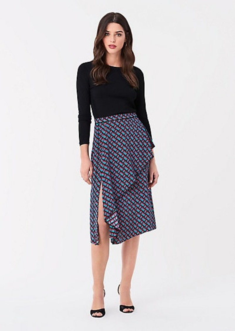 Diane Von Furstenberg Brittany Silk Crepe de Chine Midi Skirt