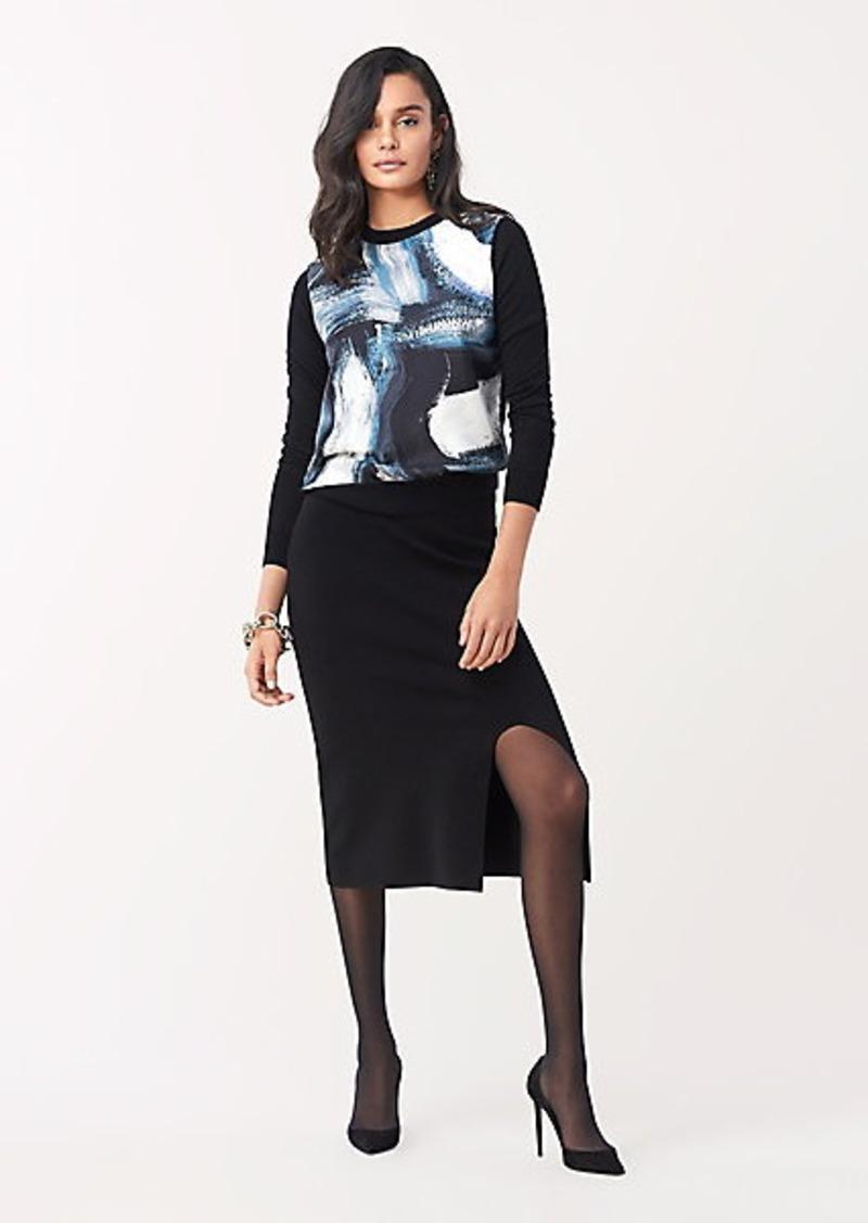 Diane Von Furstenberg Bronson Mixed Knit Pullover