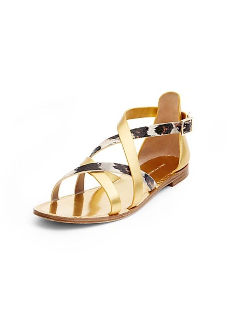 Diane Von Furstenberg Cannes Gold and Leopard Sandal