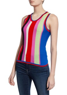 Diane Von Furstenberg Carolina Block-Stripe Knit Tank Top
