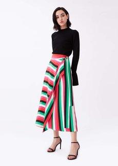 Diane Von Furstenberg Carson Silk Crepe De Chine Midi Wrap Skirt in Carson Stripe