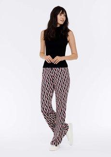 Diane Von Furstenberg Caspian Silk-Jersey Flare Pants in Logo Stripe Ivory