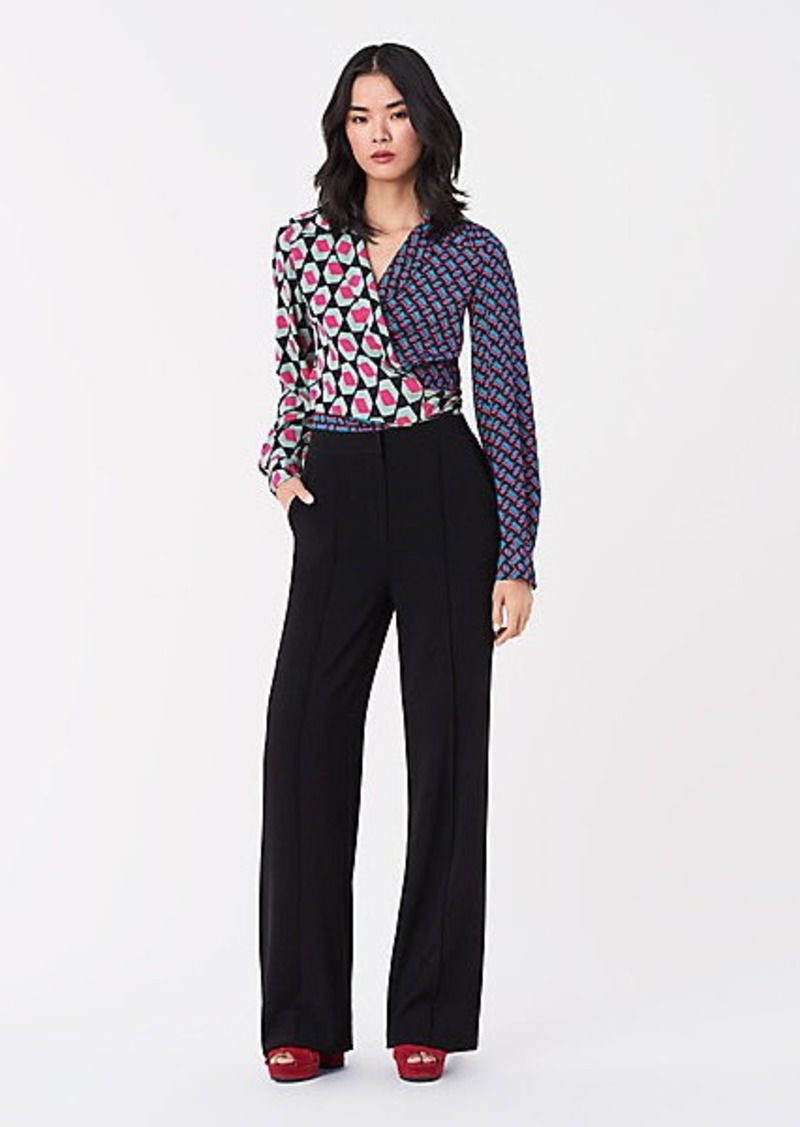 Diane Von Furstenberg Chantelle Stretch Crepe Wide-Leg Pants