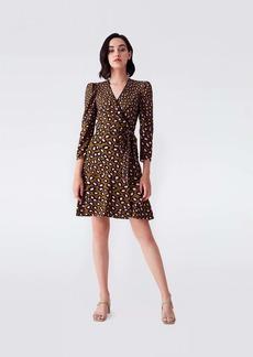 Diane Von Furstenberg Charlene Crepe Mini Wrap Dress in Leopard Spots