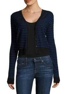 Diane Von Furstenberg Checkered Cropped Cardigan