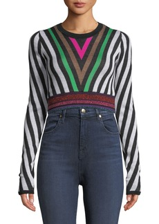 Diane Von Furstenberg Chevron-Stripe Long-Sleeve Cropped Sweater