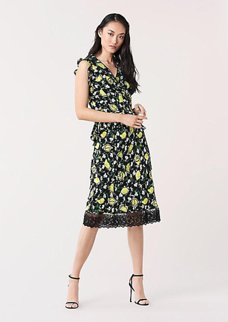 Diane Von Furstenberg Chrissy Lace-Trimmed Silk Crepe de Chine Skirt