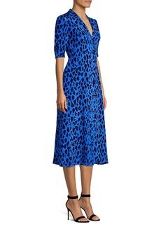 Diane Von Furstenberg Cinch Sleeve Silk Midi Shirt Dress