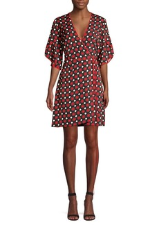 Diane Von Furstenberg Cinnamon Geometric Kimono Sleeve Wrap Dress