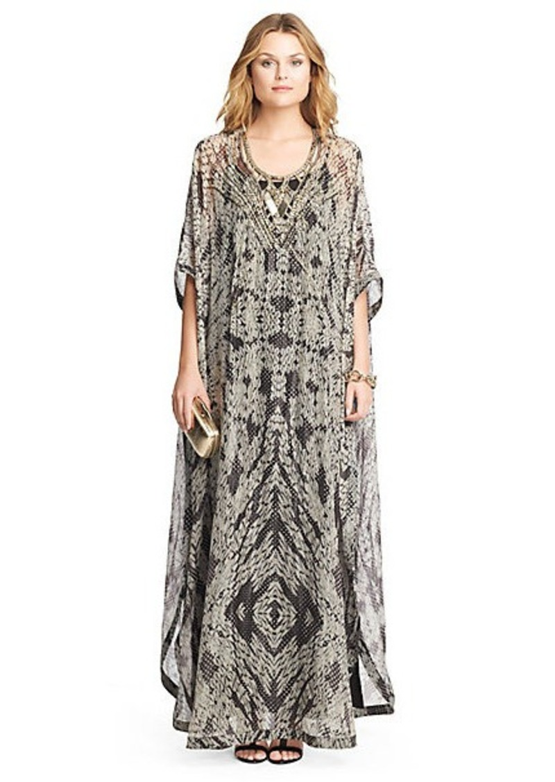Diane Von Furstenberg Clare Beaded Chiffon Kaftan Maxi Dress