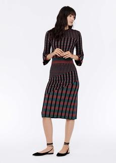Diane Von Furstenberg Clemment Ribbed Knit Pullover in Hollyberry Gingham