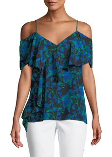 Diane Von Furstenberg Cold-Shoulder Ruffled Floral Blouse