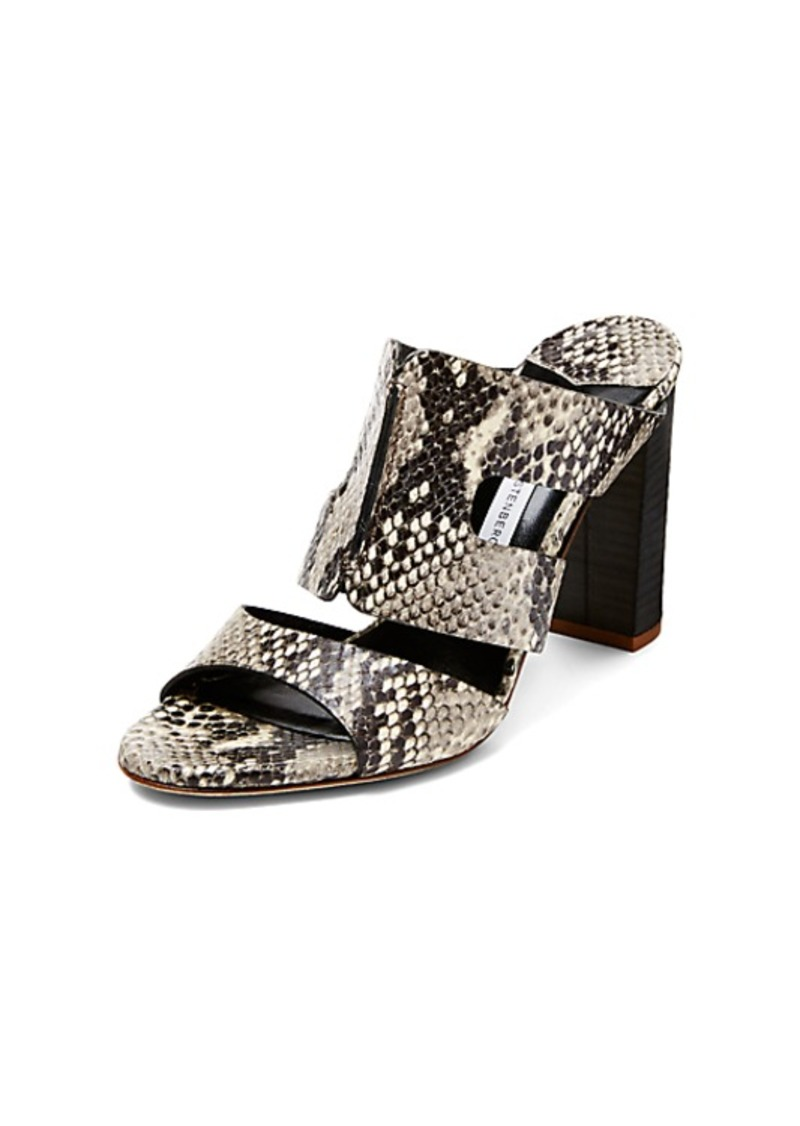 Diane Von Furstenberg Cosenza Snake Leather Mule Sandal