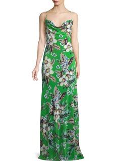 Diane Von Furstenberg Cowl-Neck Silk Floral Bias Gown