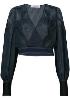 Diane Von Furstenberg cropped denim v-neck blouse