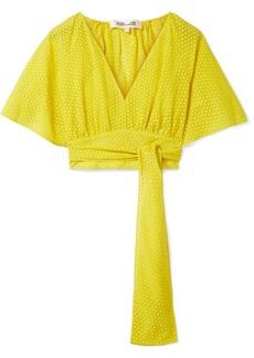 Diane Von Furstenberg Cropped devoré-voile wrap blouse