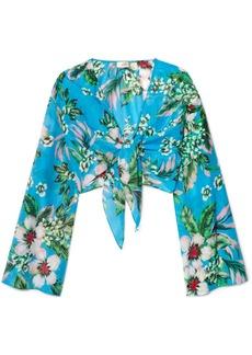 Diane Von Furstenberg Cropped Floral-print Cotton And Silk-blend Wrap Top