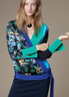 Diane Von Furstenberg Crossover Tie Blouse