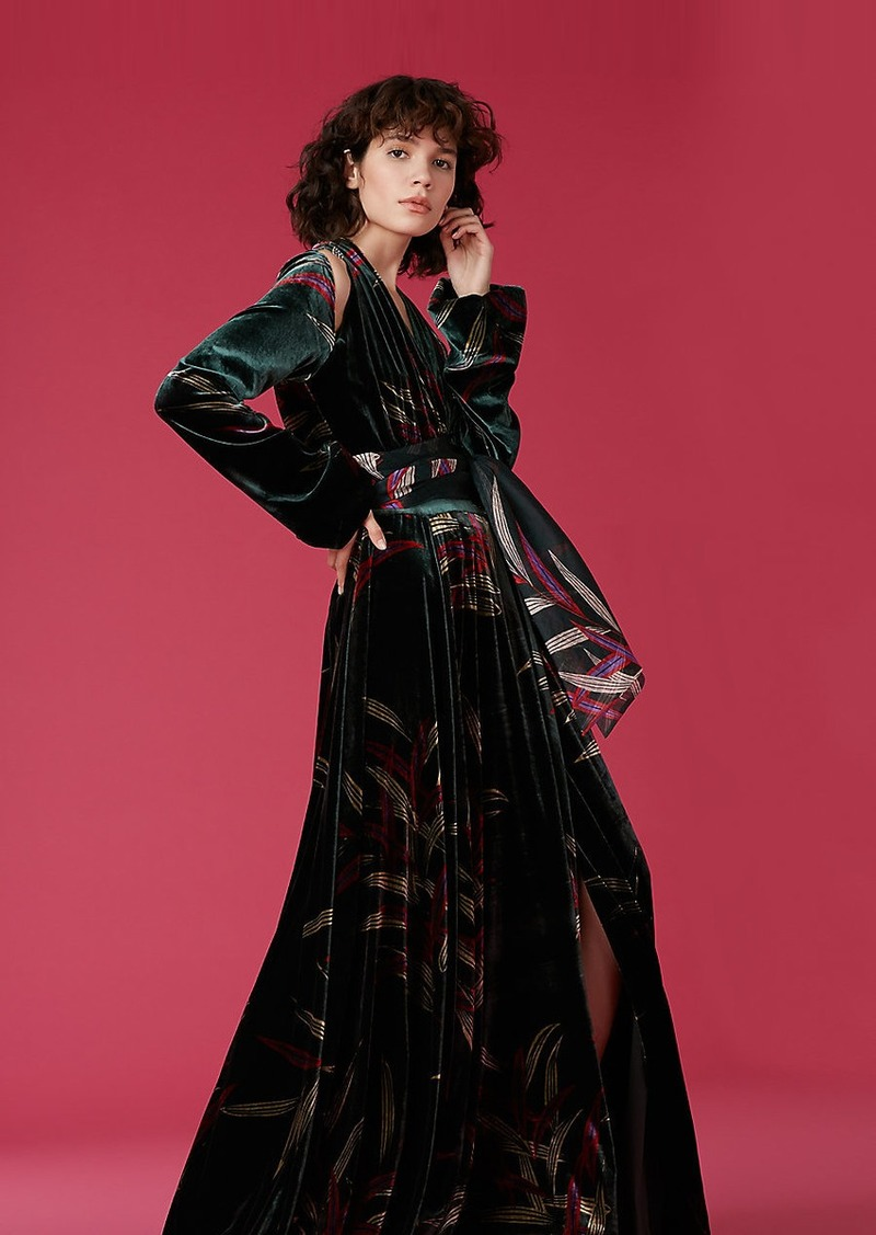 Diane Von Furstenberg Velvet Cut-Out Wrap Gown