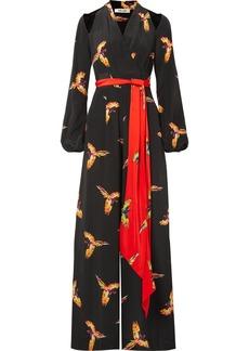 Diane Von Furstenberg Cutout Belted Printed Silk Crepe De Chine Jumpsuit