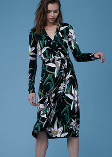 Cybil Silk Jersey Banded Wrap Dress