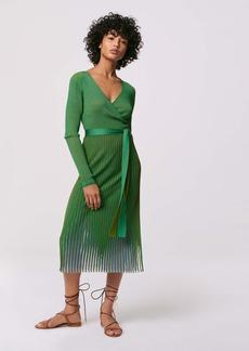 Diane Von Furstenberg Dara Ribbed Knit Wrap Dress in Forest Green