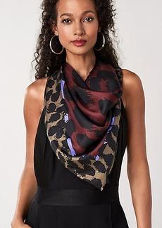 Diane Von Furstenberg Dark Leopard Silk Twill Square Scarf