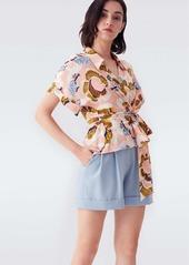 Diane Von Furstenberg Debbie Silk Crepe De Chine Wrap Top Wax Cloth Floral
