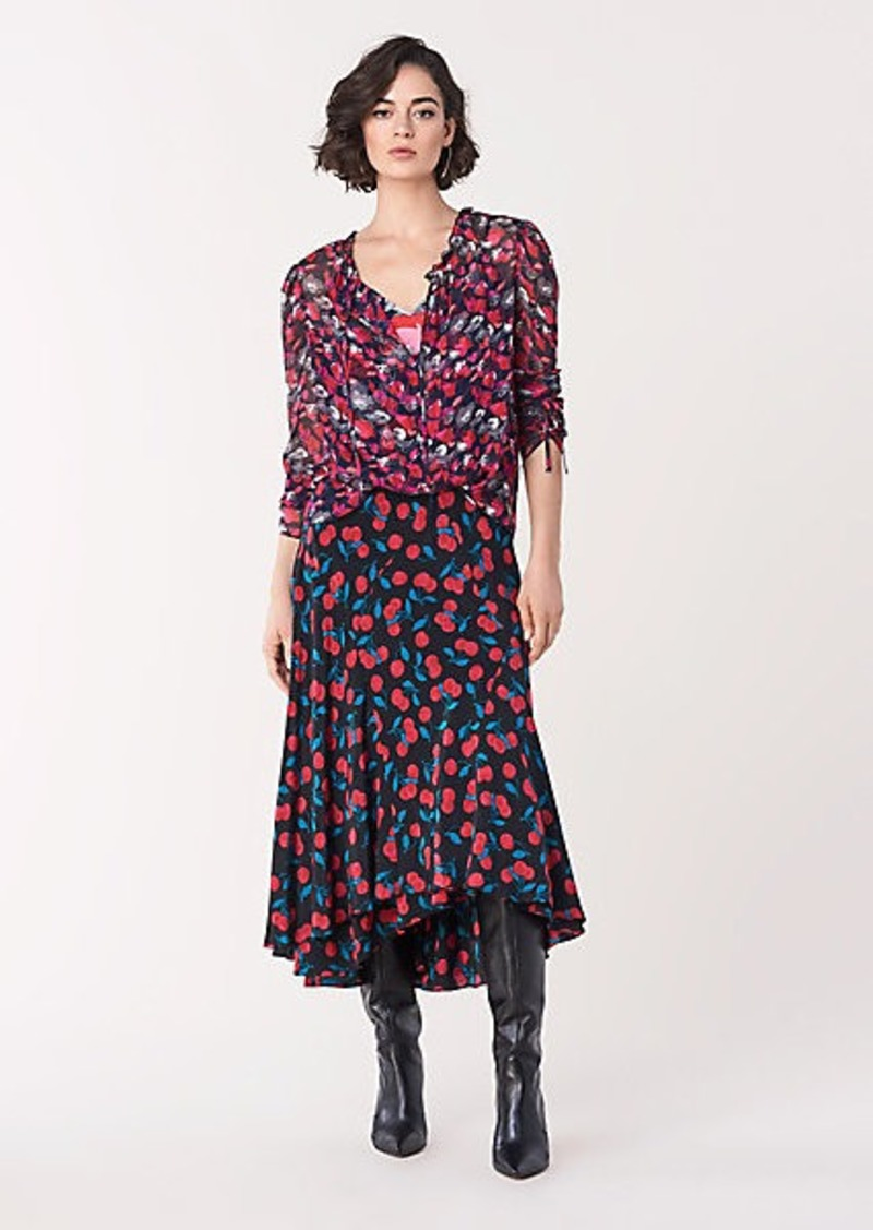 Diane Von Furstenberg Debra Silk Crepe de Chine Midi Skirt