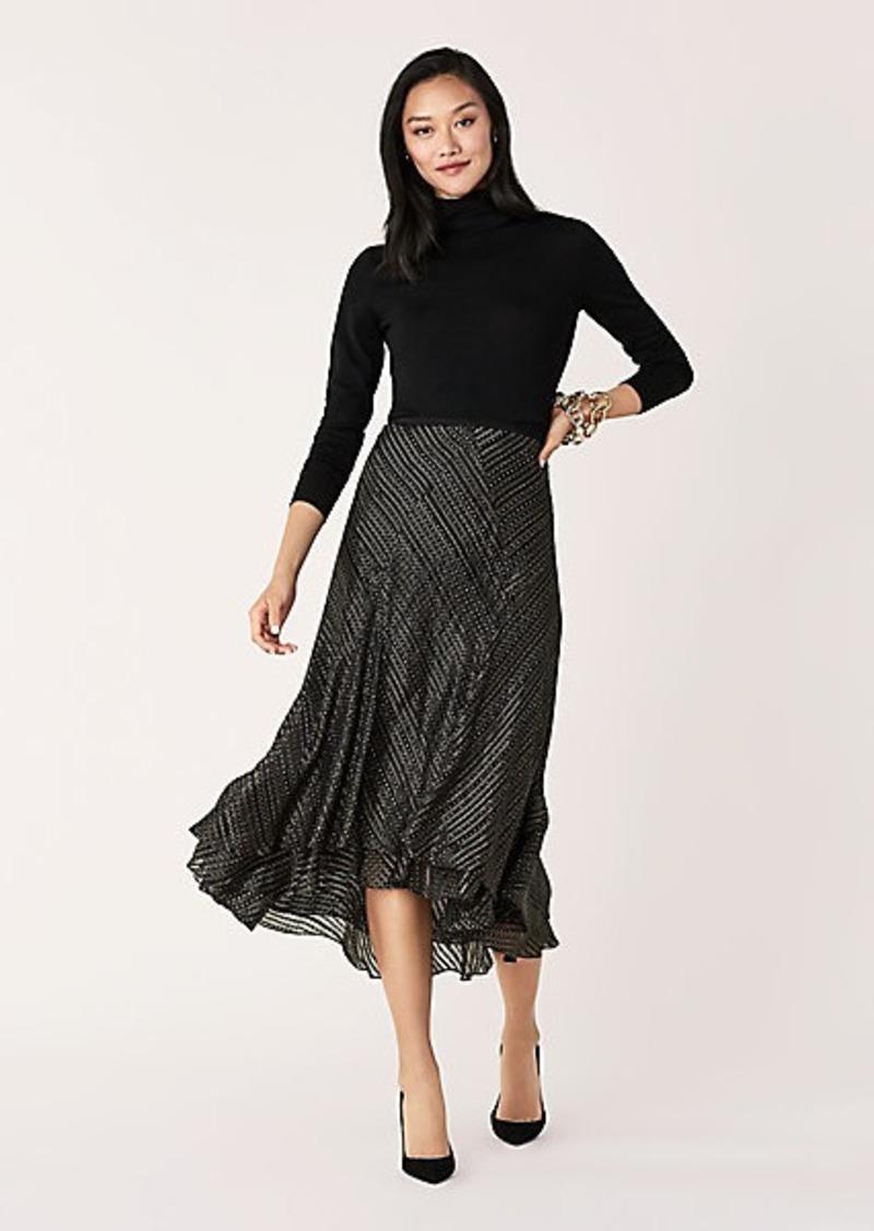 Diane Von Furstenberg Debra Silk-Metallic Midi Skirt