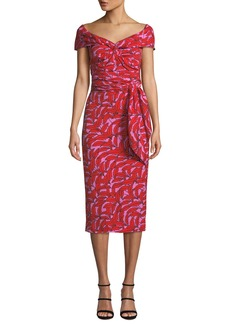 Diane Von Furstenberg Delphine Printed Off-Shoulder Cocktail Dress