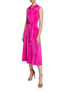 Diane Von Furstenberg Demi Sleeveless Silk Shirtdress