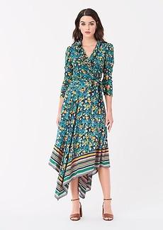 Diane Von Furstenberg Denver Crepe de Chine Asymmetrical Midi Skirt