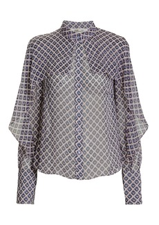 Diane Von Furstenberg Diamond Cape Blouse