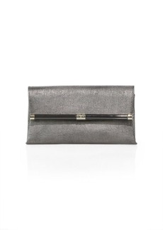 Diane von Furstenberg 440 Metallic Embossed Leather Envelope Clutch