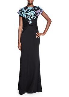 Diane von Furstenberg Short-Sleeve Wool Floral-Intarsia Statement Gown