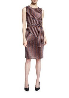 Diane von Furstenberg Ashlie Sleeveless Rickrack Stripe Silk Dress