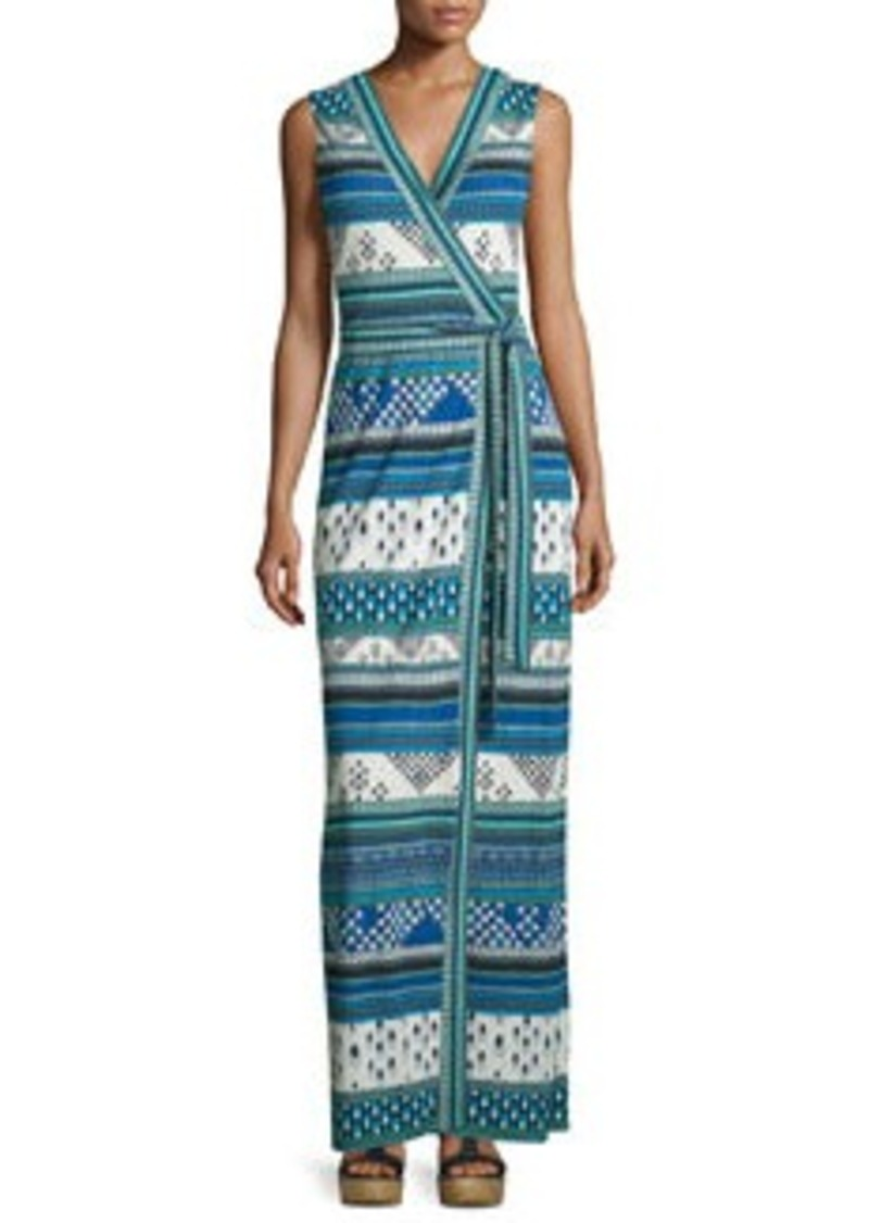 Diane von Furstenberg Yahzi Chevron Bands Wrap Maxi Dress