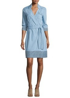 Diane von Furstenberg Savion Collared Chambray Wrap Dress