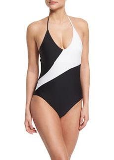 Diane von Furstenberg Newport Colorblock Halter One-Piece Swimsuit