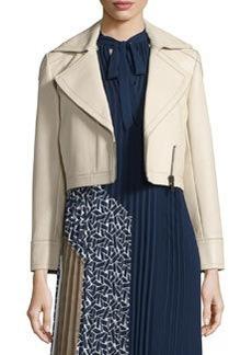 Diane von Furstenberg Valeria Leather Zip-Trim Jacket