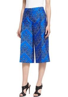 Diane von Furstenberg Stanton Chevron Dots Wool-Silk Mikado Culottes
