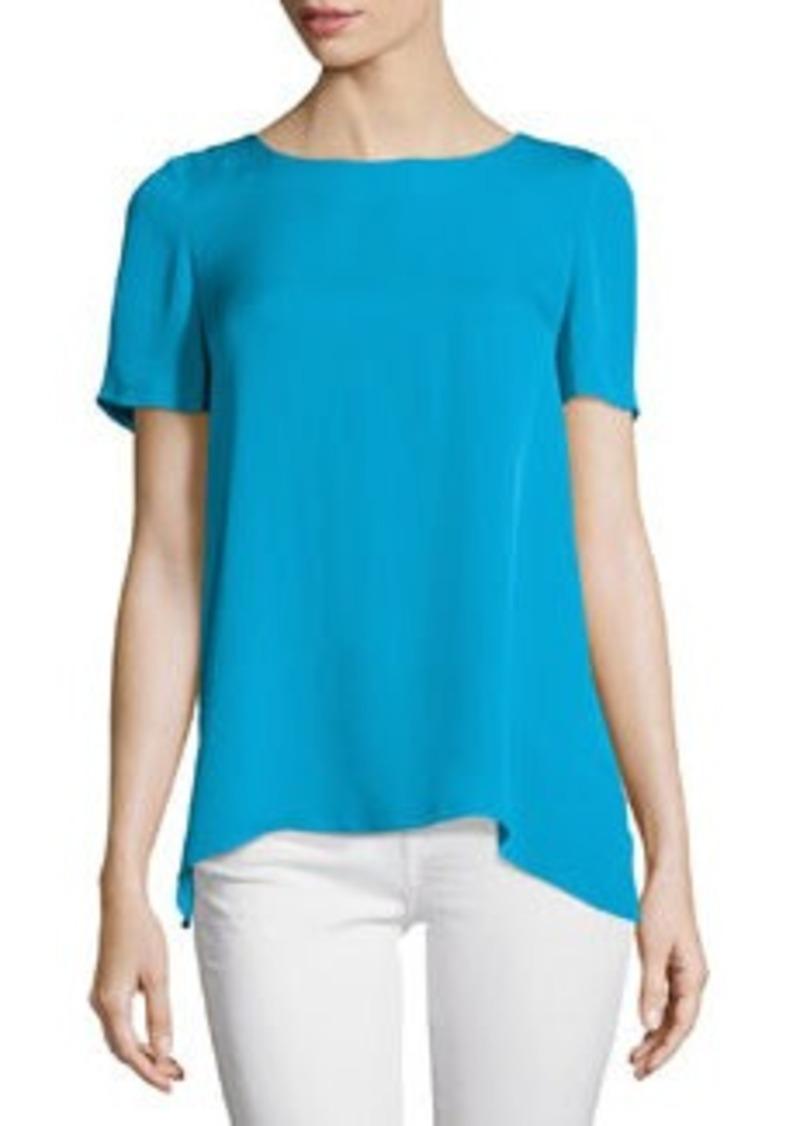 Diane von Furstenberg Maggy Short-Sleeve Silk Button-Back Top